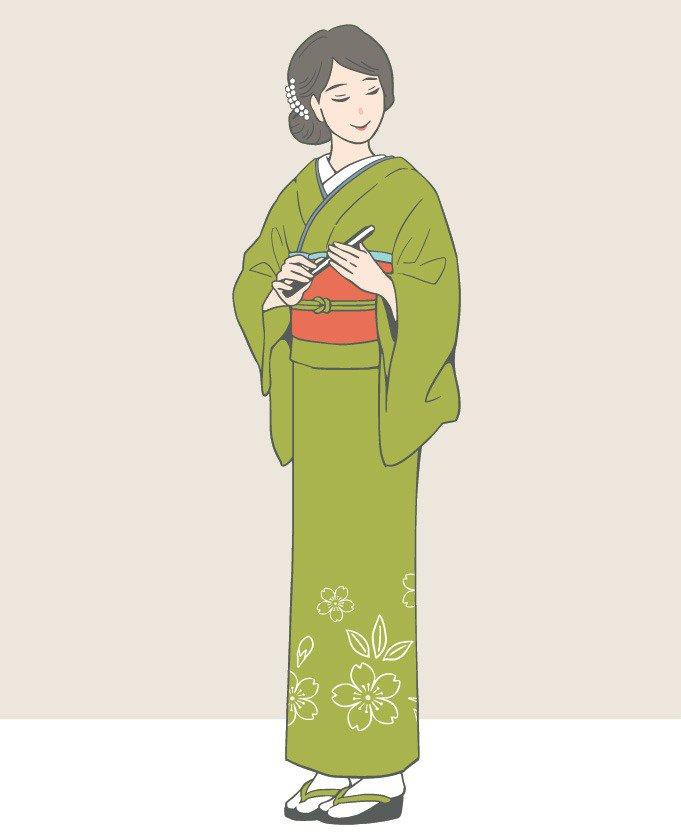 イラスト:附下訪問着を着た女性