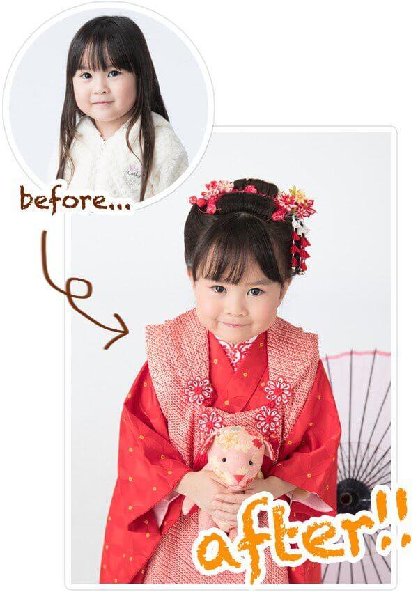 七五三撮影:地毛を生かして結い上げた新日本髪の七五三、三歳女の子の写真