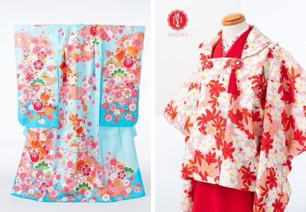 和紙のお店「榛原(はいばら)」がプロデュースした3歳被布の写真(右)と、正絹の7歳四つ身(左)の写真