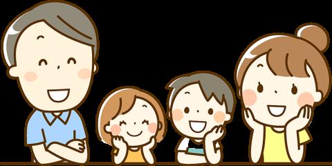 お客様の声イメージイラスト:お父さん、お母さんと女の子、男の子が笑顔で会話している。