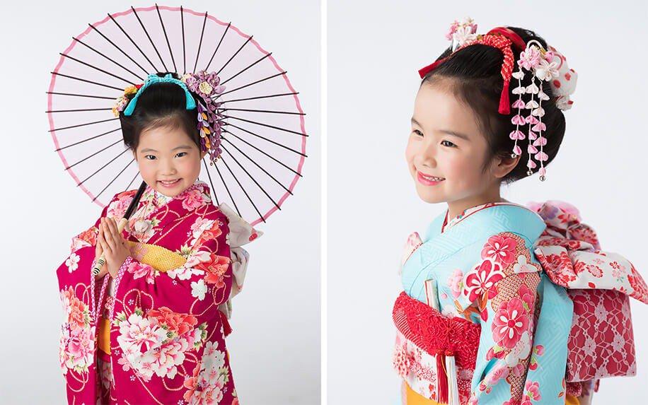 新日本髪で七五三撮影の7歳女の子の写真2枚