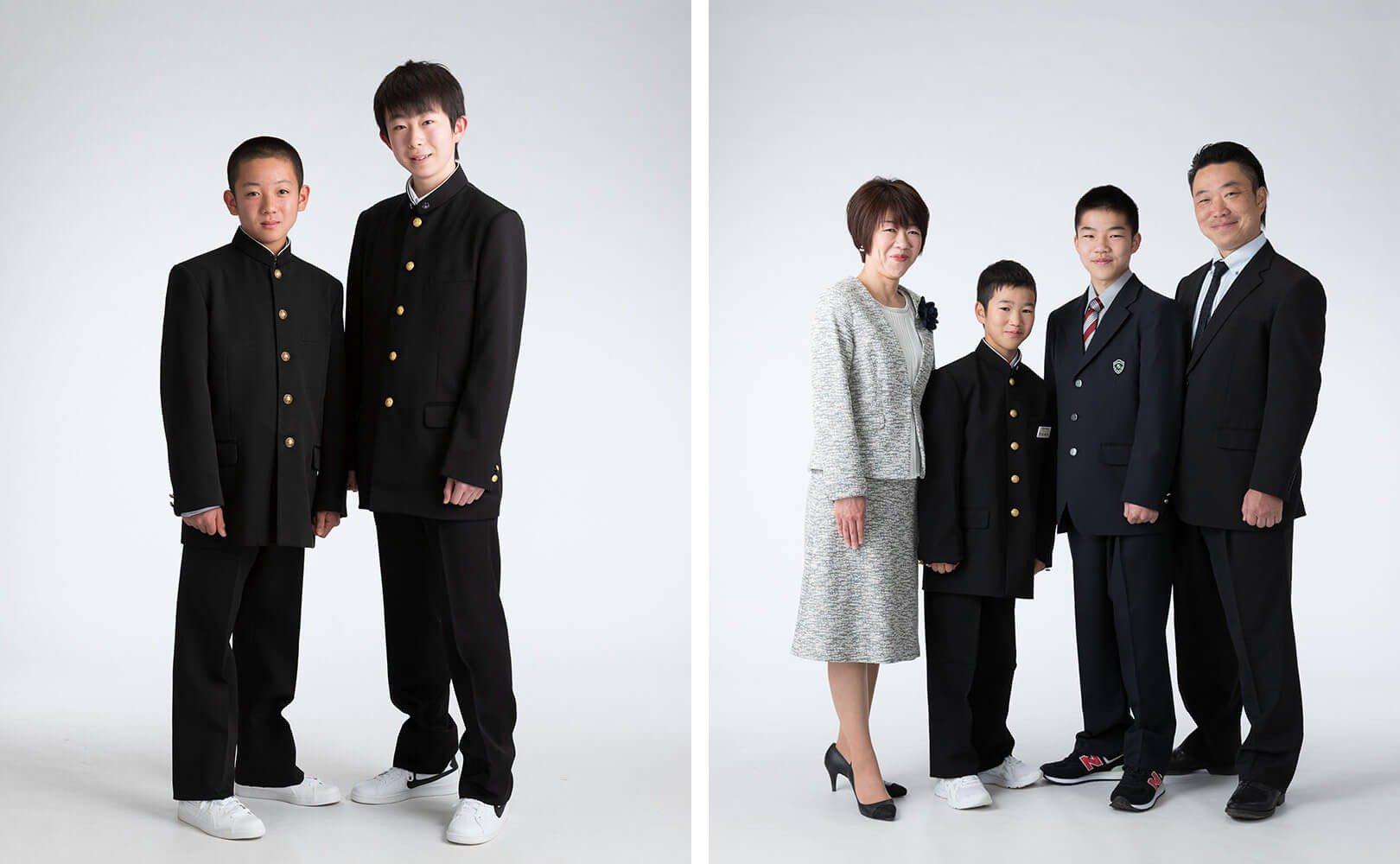 中学入学の兄弟の写真と、中学・高校入学の家族写真